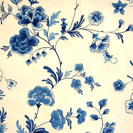 Giftress Guide Blue Floral Vintage Wallpaper