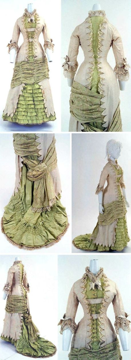 Dress, French, ca. 1880s. Princess-line, one piece.