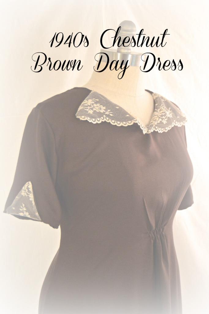 brown 1940's dress