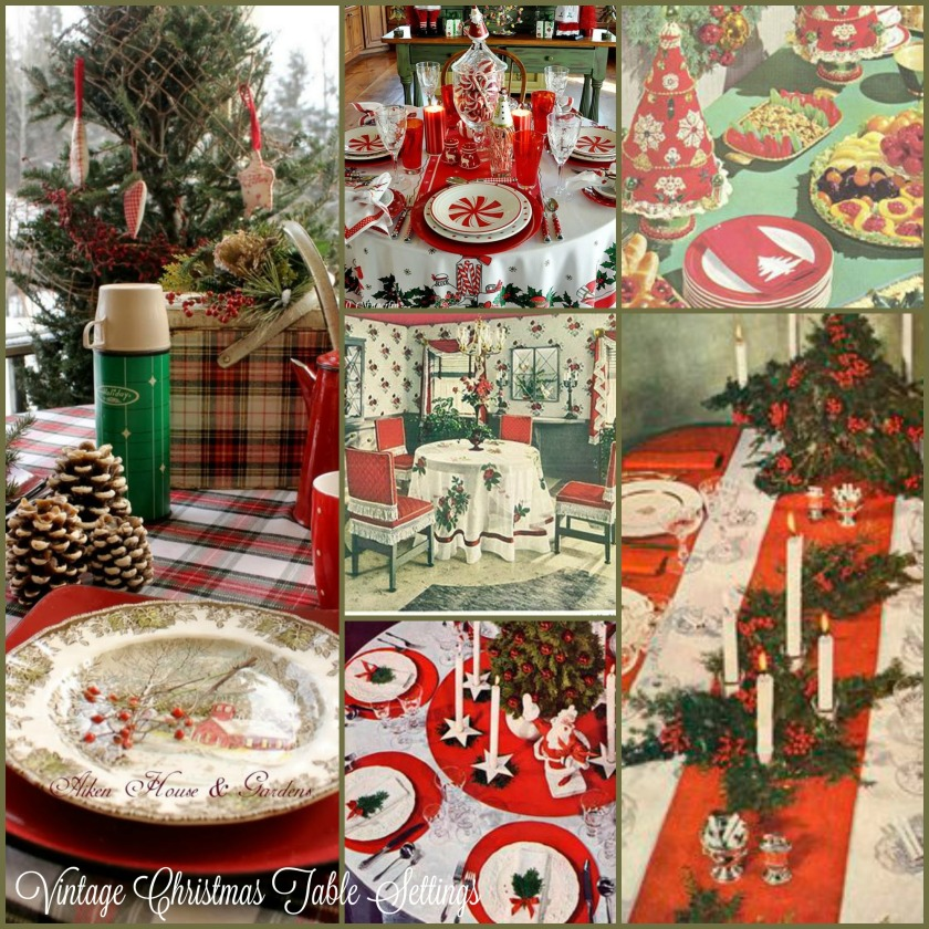 Vintage Christmas Table Settings